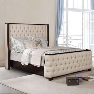 Furniture of America Lova Transitional Beige Wingback Panel Bed