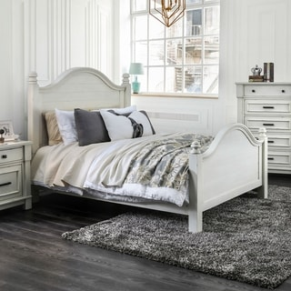 Furniture of America Feon Transitional White Solid Wood Planked Bed