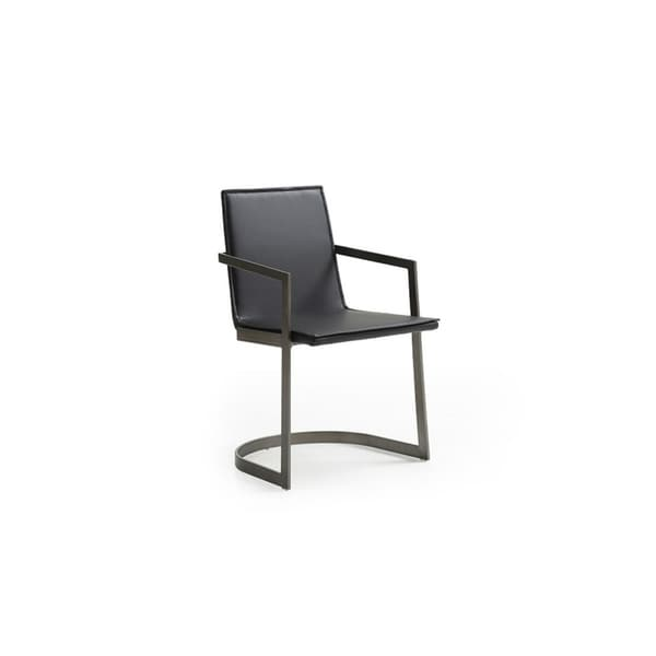 HomeRoots Furniture Modern Black Leatherette Dining Chair with Gun Metal Base - Set of 2
