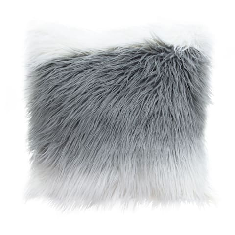 """Diamond Sofa 18"""" Dual Sided Faux Fur Mongolian Square Accent Pillow in White and Grey Ombre"""