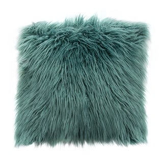 "Diamond Sofa 18"" Dual Sided Faux Mongolian Fur Square Accent Pillow in Teal"