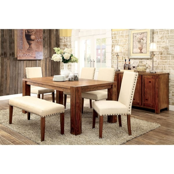 Tremendous Shop Hightower 6 Piece Dining Table Set With Bench By Foa Machost Co Dining Chair Design Ideas Machostcouk