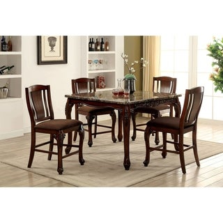 Furniture of America Ling Traditional Cherry 5-piece Dining Table Set