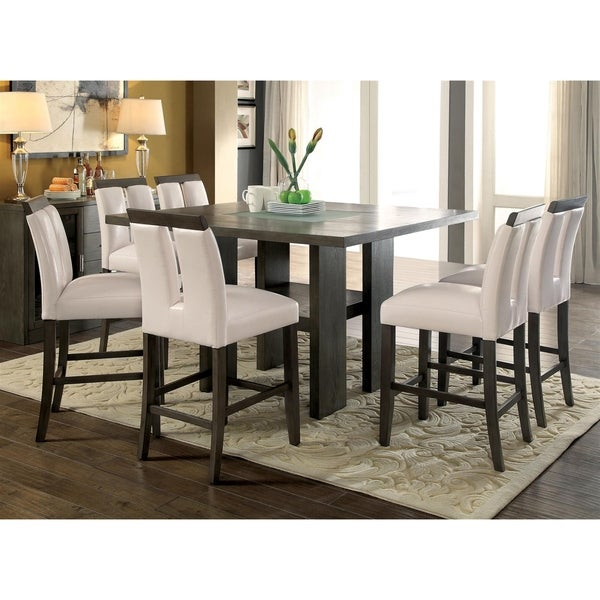 Furniture of America Quia Contemporary Grey 7-piece Counter Table Set