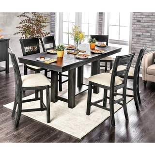 Furniture of America York Black 7-piece Counter Height Dining Set
