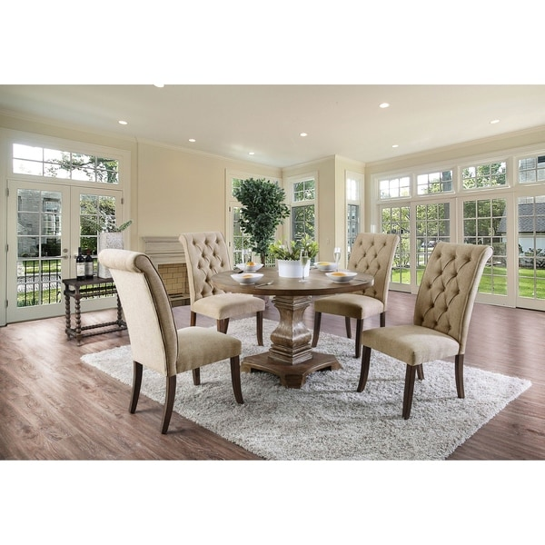 Shop Furniture Of America Melbourne 5 Piece Round Pedestal Dining Table Set