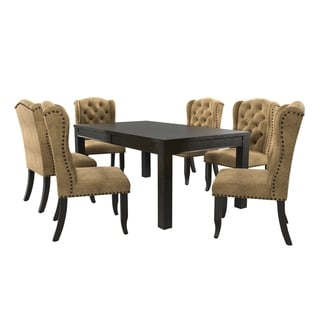 Furniture of America Foster Rustic 84-inch Gold Linen 7-piece Dining Table Set by FOA