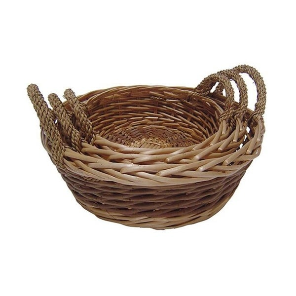 Cheung's Handcrafted Unpeeled Willow Round Tray with Side Handles, Brown - Set of 3