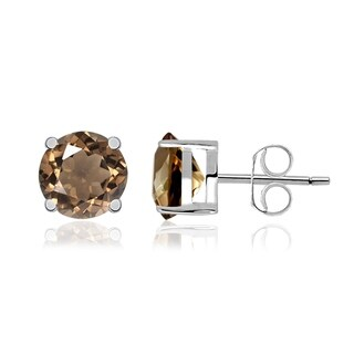 925 Silver Women's Stud Earring 0.6 Cts Smoky Quartz by Orchid Jewelry