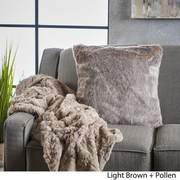 Faux Fur Pillow And Throw Set.Shop Toscana Faux Furry Pillow And Throw Blanket Combo Set