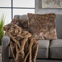 Toscana Faux Furry Pillow and Throw Blanket Combo (Set of 2) by Christopher Knight Home