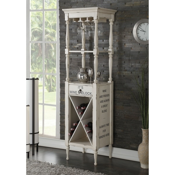 Wooden Wine Cabinet with Spacious Wine Bottle Holder, Antique White