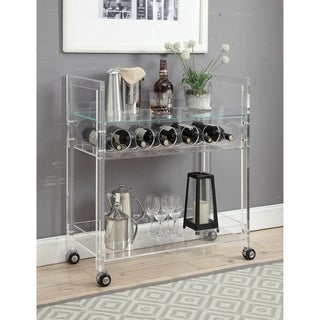 Acrylic And Glass Serving Cart with Two Open Shelves And Wine Bottle Rack, Clear