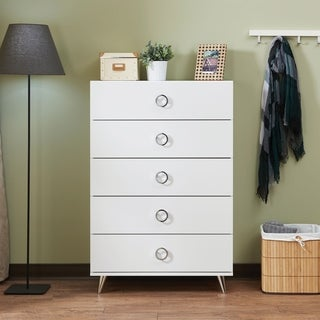 Five Drawers Wooden Chest In Contemporary Style, White