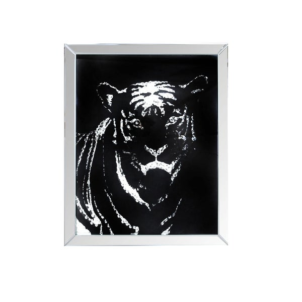 Rectangular Mirror framed Tiger Wall D�cor With Crystal Inlays, Black & Silver