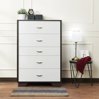 Wooden Chest with Five Drawers, White & Espresso Brown