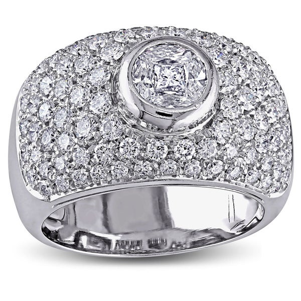 Miadora Signature Collection 18k White Gold 1-1/2ct TDW Bezel Set Pave Diamond Ring