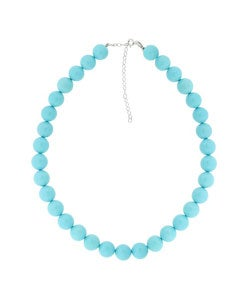 Glitzy Rocks Sterling Silver Synthetic Blue Turquoise Necklace