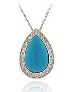 ICZ Stonez Sterling Silver Blue Turquoise Pendant