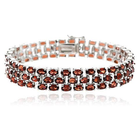 Glitzy Rocks Sterling Silver 28.5 CTW Genuine Garnet Three-tier Bracelet