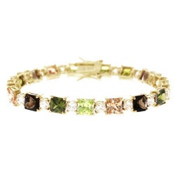 Icz Stonez 18k Gold over Silver Earth Tone CZ Tennis Bracelet