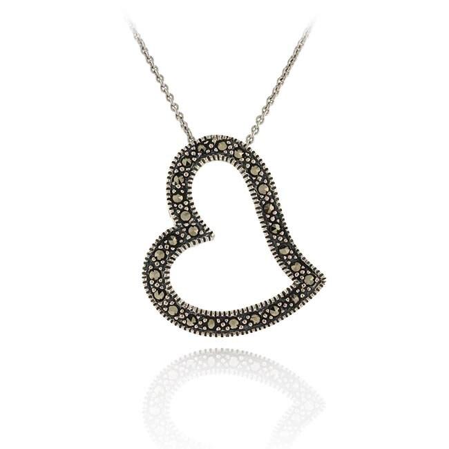 Glitzy Rocks Sterling Silver Genuine Marcasite Heart Necklace