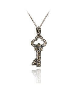 Glitzy Rocks Sterling Silver Marcasite Fairy Tale Key Necklace