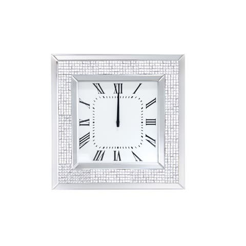 Mirror Framed Wooden Analog Wall Clock With Crystal Accents, White