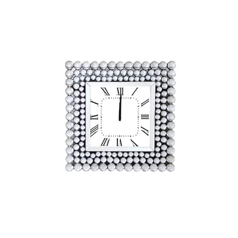 Mirrored Wall Clock In Square Shape, White