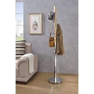 Wood & Metal Freestanding Coat Rack with Hooks, Natural Brown & Silver