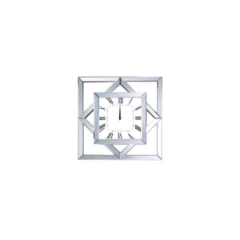 Square Shape Mirror Framed Wooden Analog Wall Clock, White