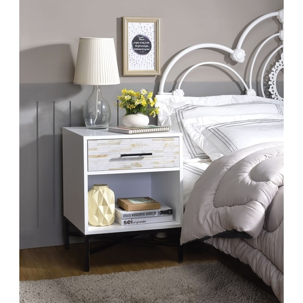 Wood & Metal Nightstand with One Drawer And One Open Shelf, White & Black