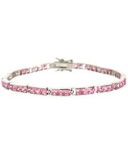 Icz Stonez Sterling Silver and Pink CZ Bracelet