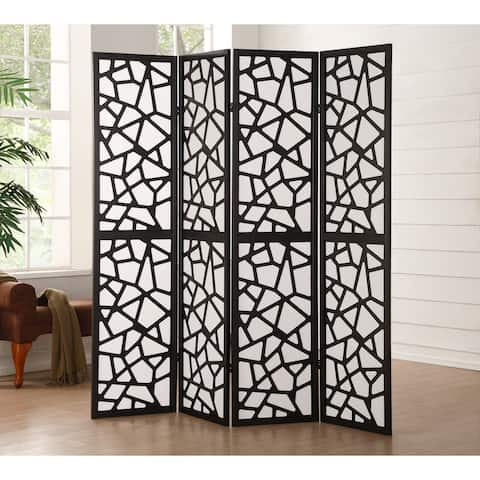 Wood & Fabric 4-Panel Screen Room Divider with Abstract Cut-Out Design, Black