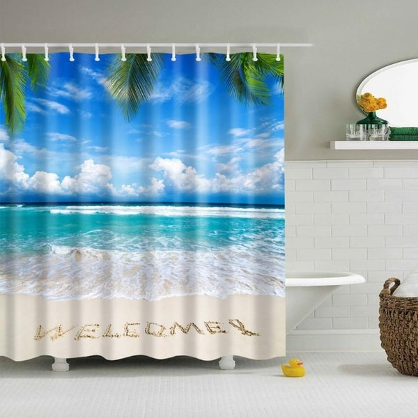 Fabric Shower Curtain Ocean Pattern Sea Beach