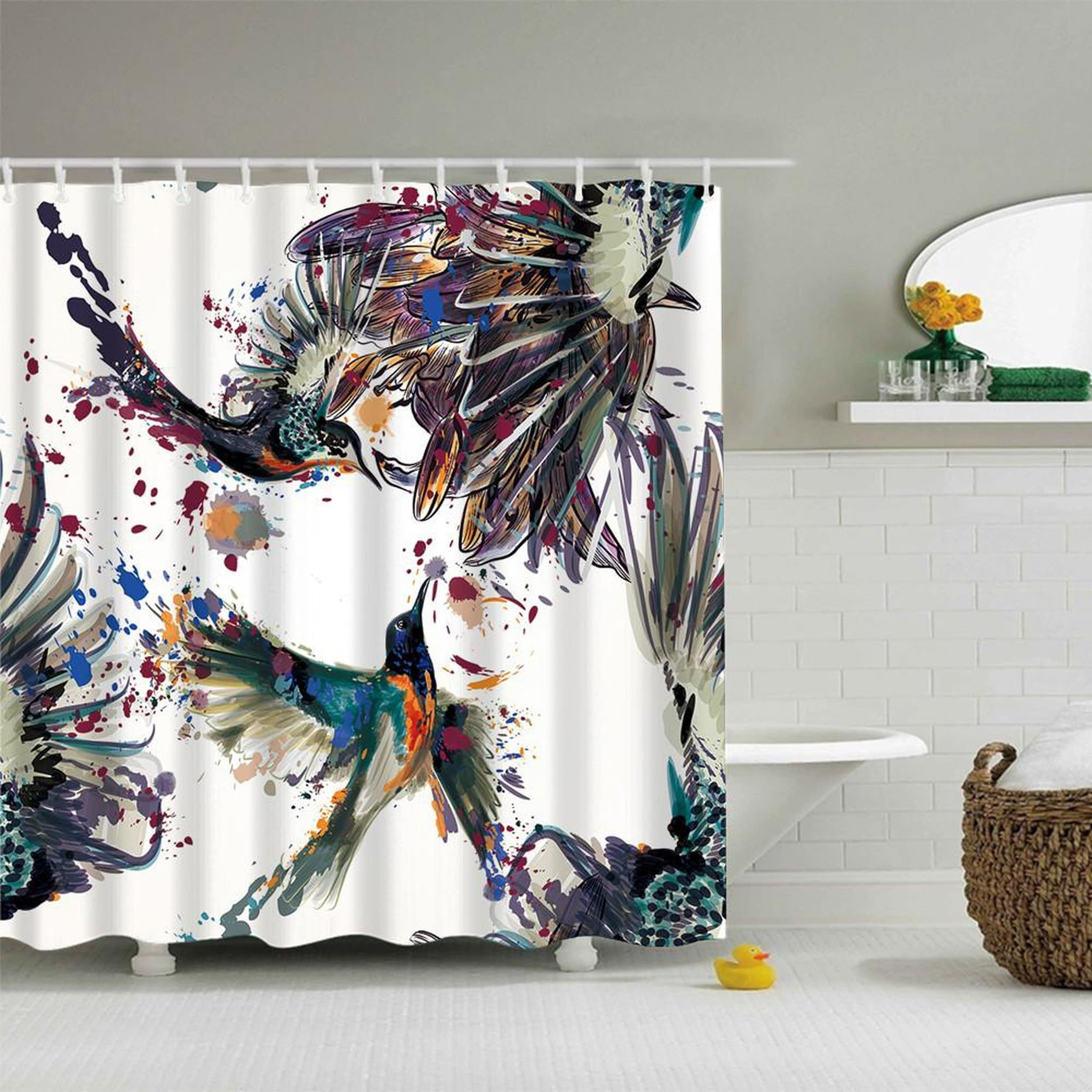 Waterproof Bird Pattern Bathroom Shower Curtain With 12 Hooks