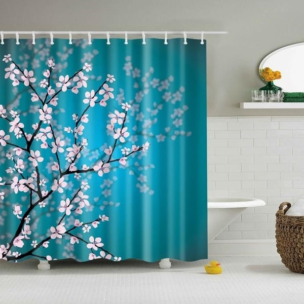 Hooks Bright Blue Pale Pink Cherry Blossom Tree Bathroom Shower Curtain-Fabric