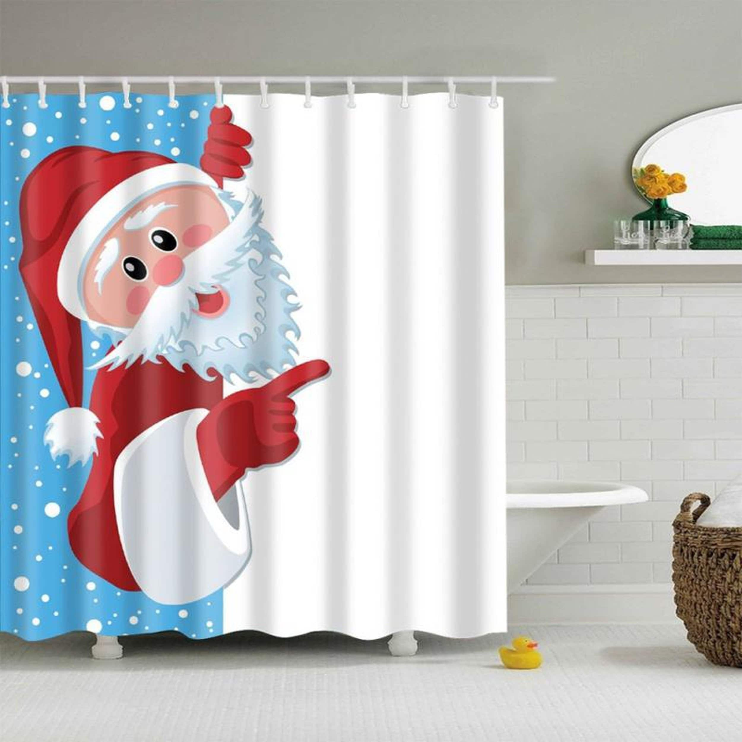 Bathroom Shower Curtains Funny Merry Christmas Waterproof Polyester