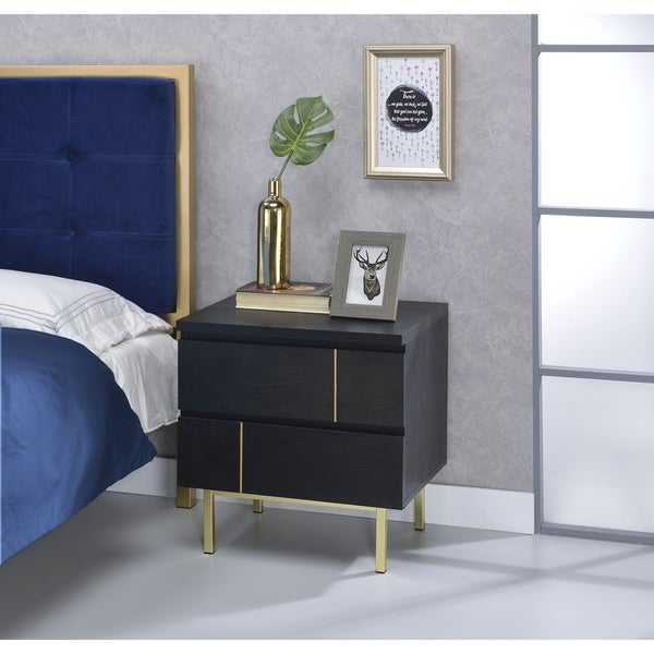Shop Two Drawers Wooden Nightstand With Metal Block Legs Black