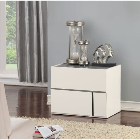 Wooden Nightstand with Two Drawers, Cream & Dark Gray
