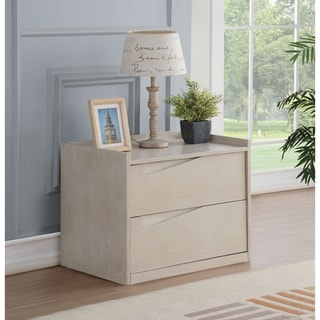 Contemporary Style Wooden Nightstand with Two Drawers, Washed White