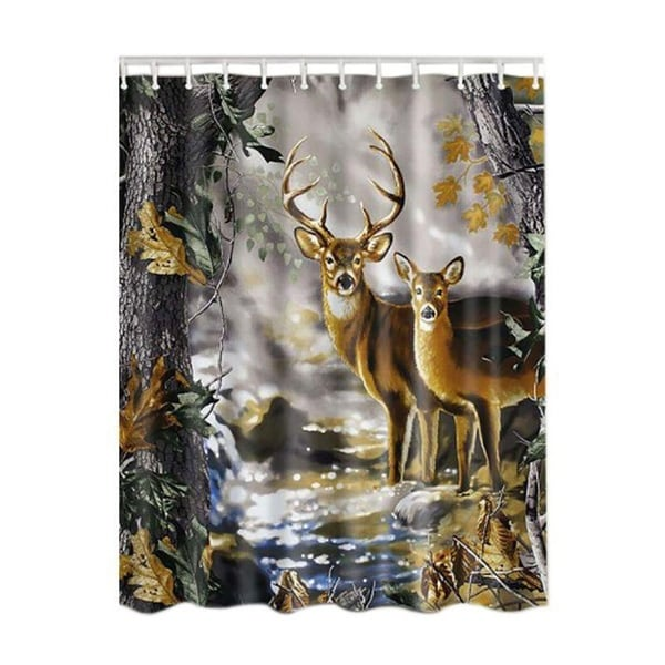 Waterproof Shower Curtains Bamboo Forest Tree Deer Pattern