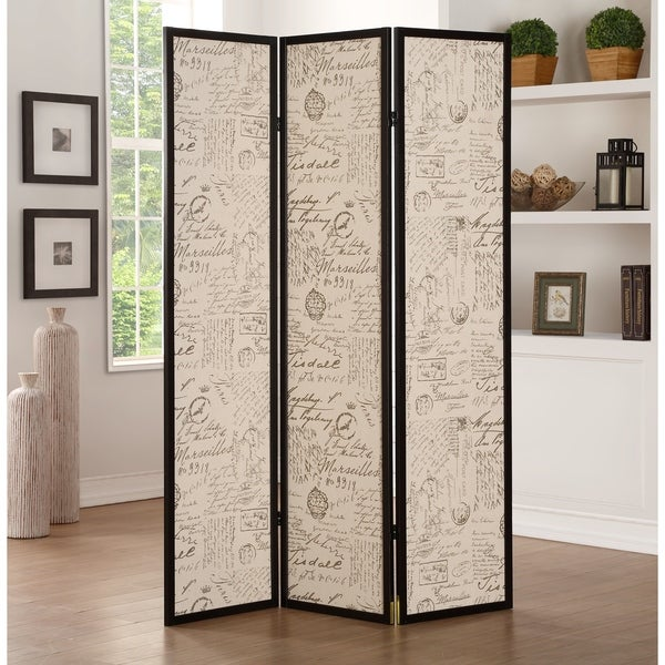 Three-Panel Wooden Screen Room Divider with Textural Motif Design, Black