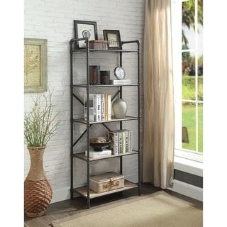 Five-Tier Metal Bookshelf With Wooden Shelves, Oak Brown & Gray
