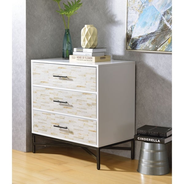 Patterned Three Drawers Wooden Console Table with Metal Base, White & Black