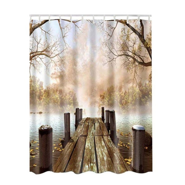 Shop Bathroom Shower Curtains Lake House Nature Country Rustic 180x180cm