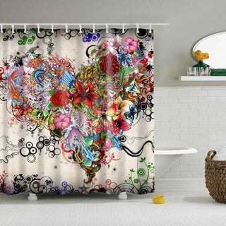 Shower Curtain Waterproof Polyester With 12 Hooks
