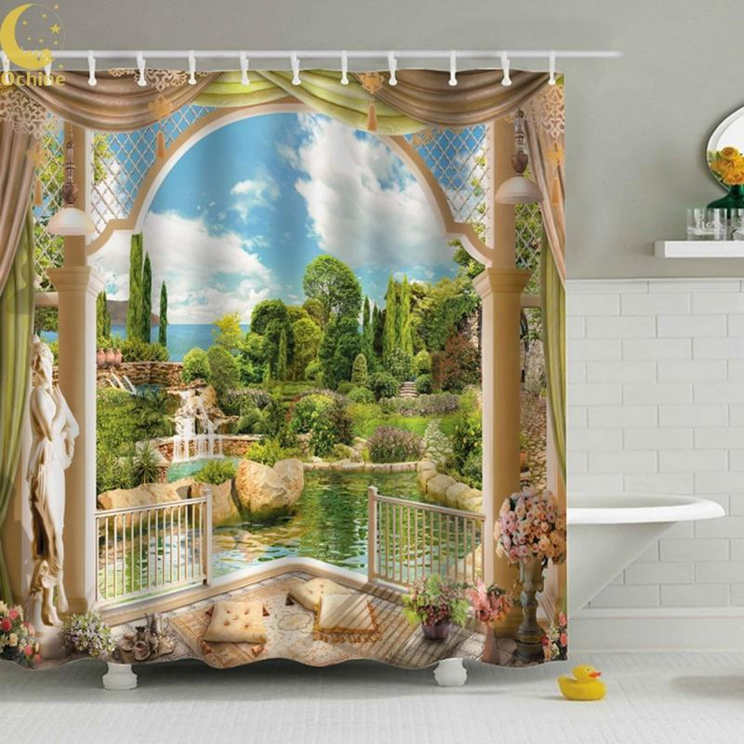 Palm Tree Shower Curtain 180 180cm Hooks Included