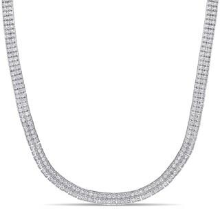 Miadora Sterling Silver 5 2/5ct TDW Diamond 2-Row Tennis Necklace