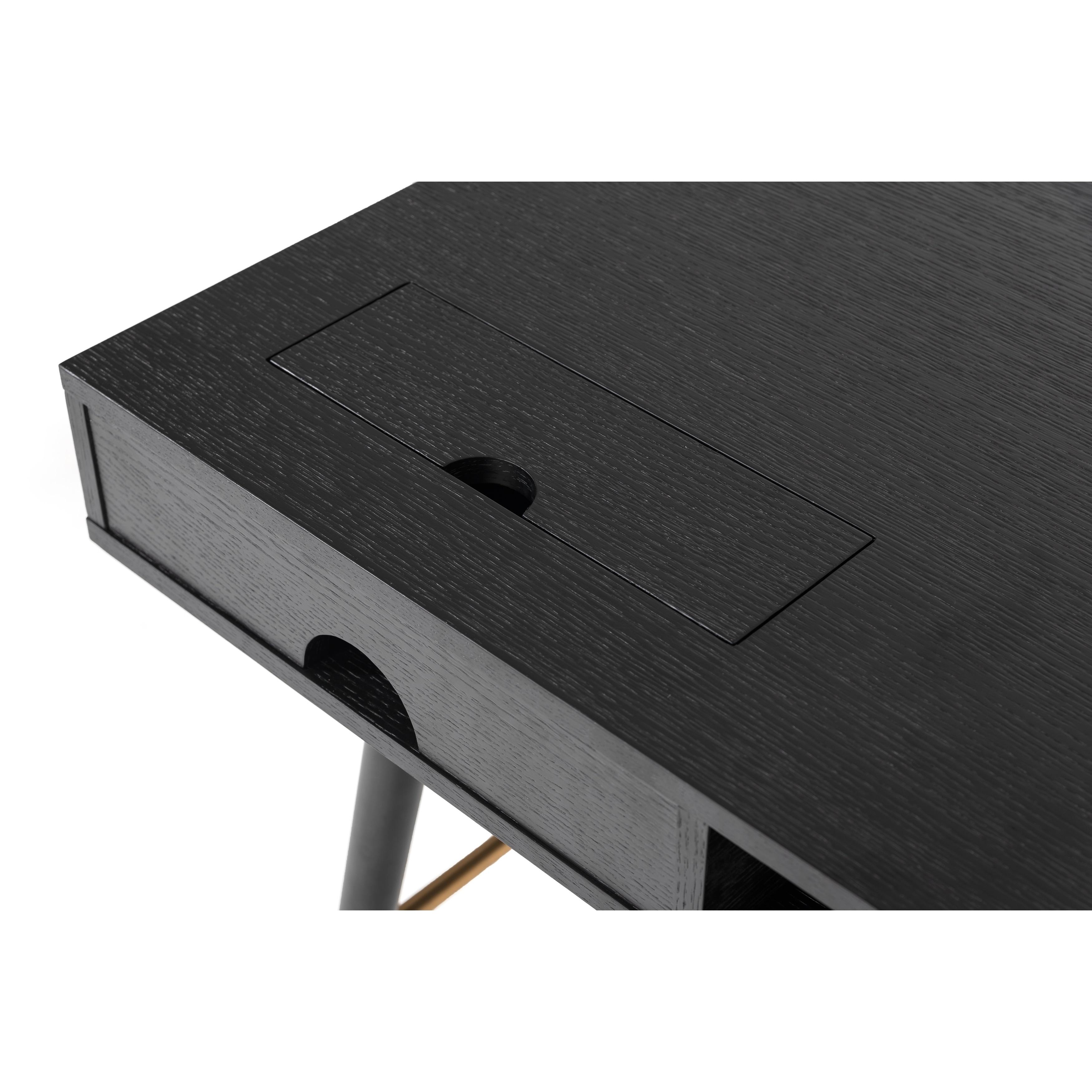 Image of: Shop Black Friday Deals On Modrest Billy Modern Black Oak Gold Desk On Sale Overstock 25359042